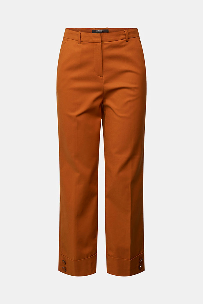 High-rise trousers with organic cotton, RUST BROWN, detail image number 6