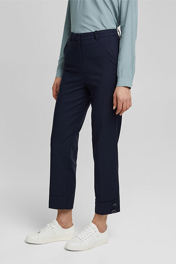 High-rise trousers with organic cotton, NAVY, detail image number 0