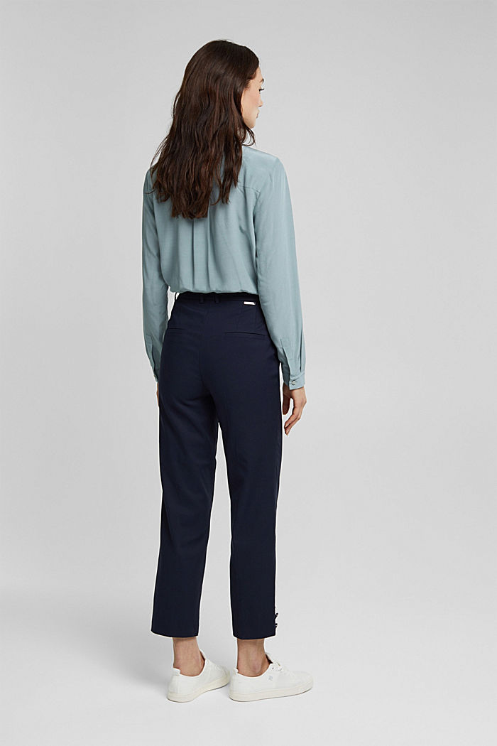 High-rise trousers with organic cotton, NAVY, detail image number 3