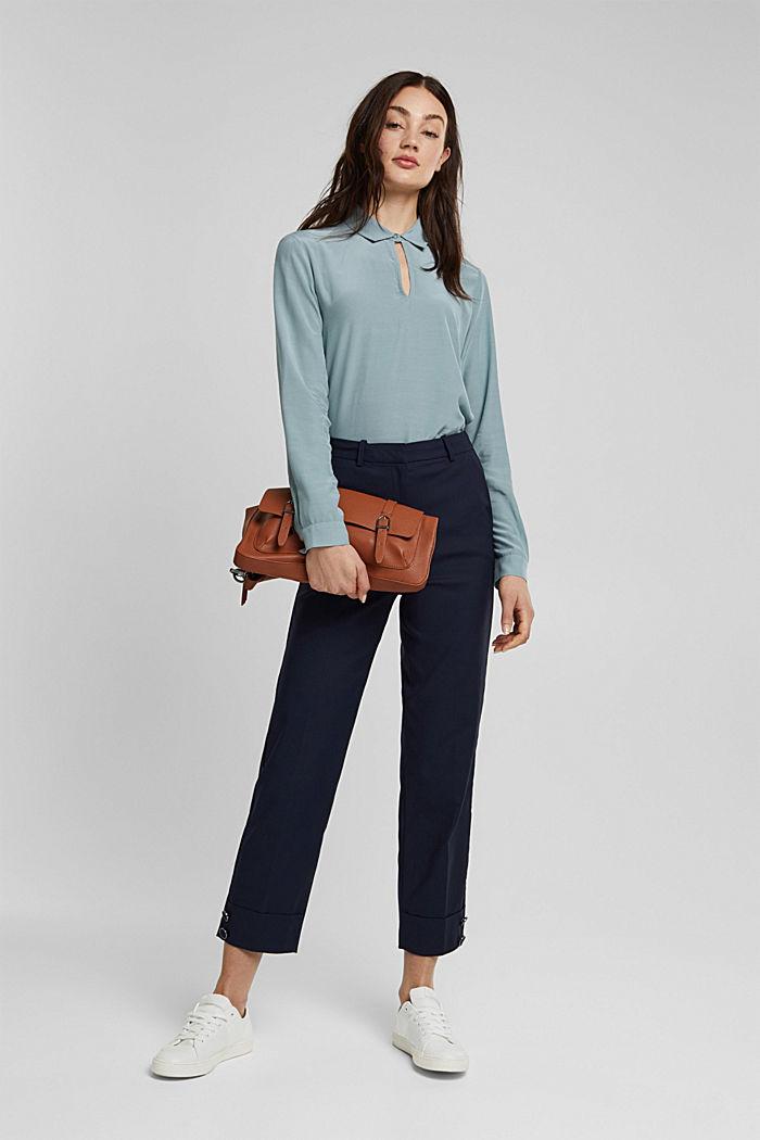 High-Rise-Pants mit Organic Cotton, NAVY, detail image number 1