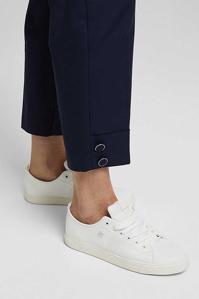 High-rise trousers with organic cotton, NAVY, detail image number 2