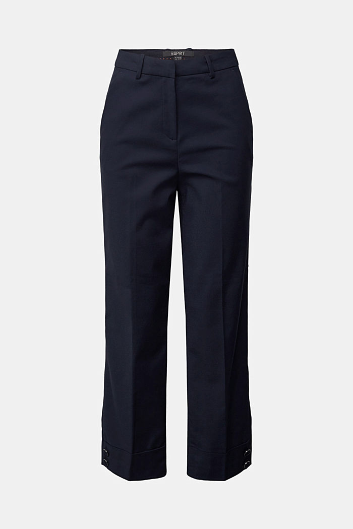 High-rise trousers with organic cotton, NAVY, detail image number 6