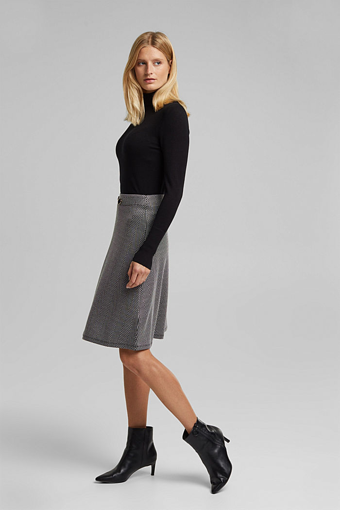 Recycled: Skirt with LENZING™ ECOVERO™, BLACK, detail image number 5