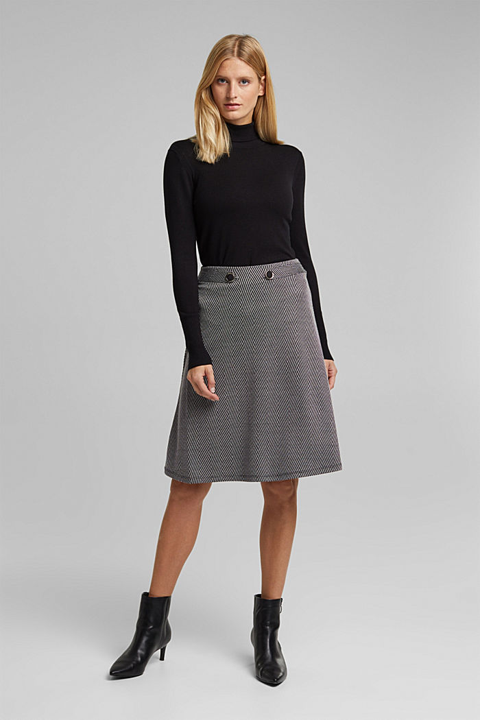 Recycled: Skirt with LENZING™ ECOVERO™, BLACK, detail image number 6