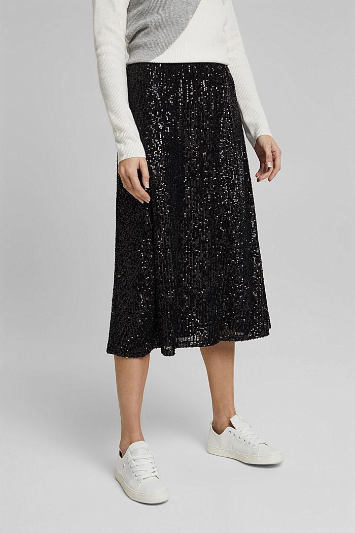 Mesh skirt with sequins, BLACK, detail image number 0