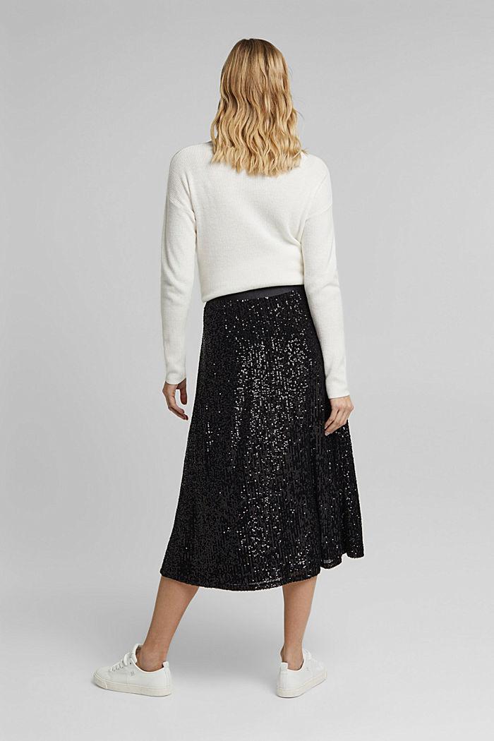 Mesh skirt with sequins, BLACK, detail image number 3