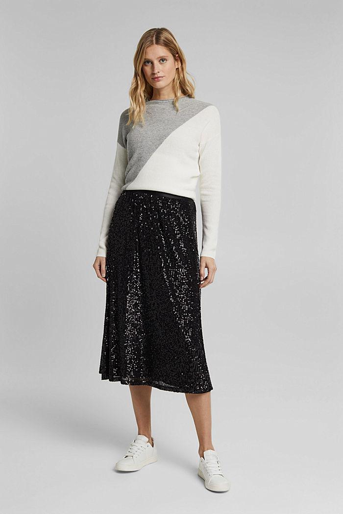 Mesh skirt with sequins, BLACK, detail image number 1