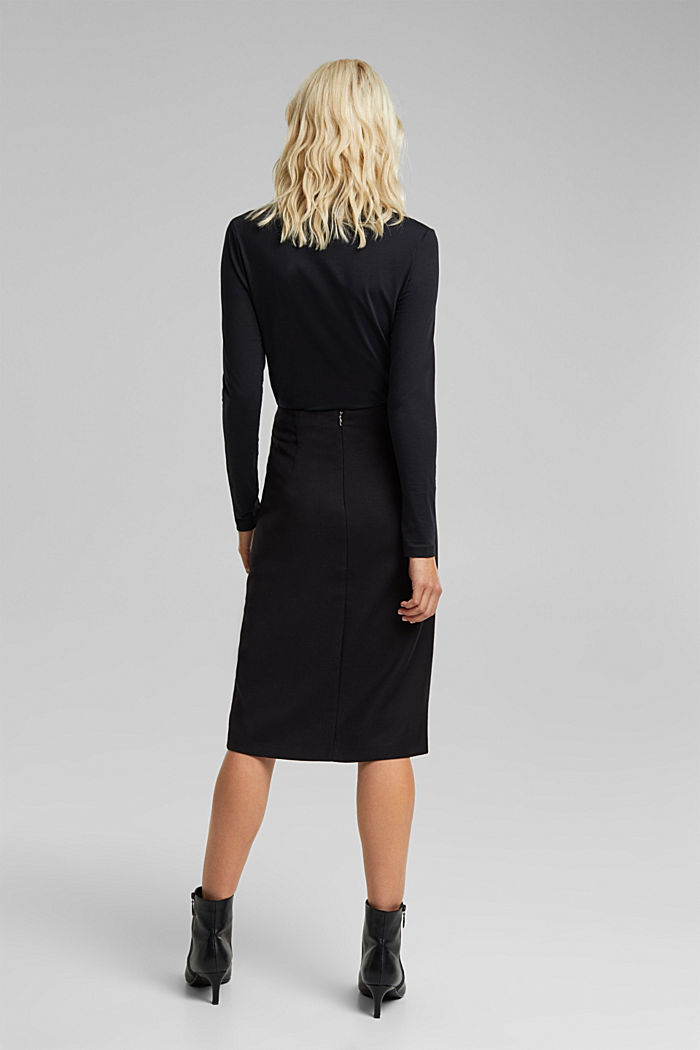 Wool blend: pencil skirt with buttons, BLACK, detail image number 3