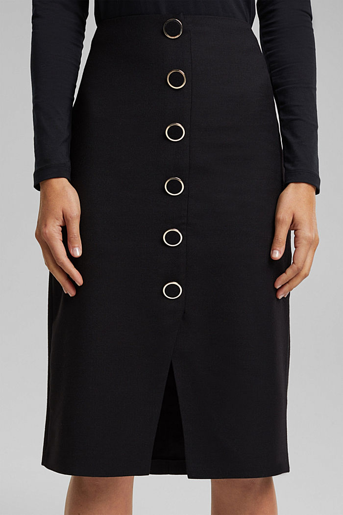 Wool blend: pencil skirt with buttons, BLACK, detail image number 2