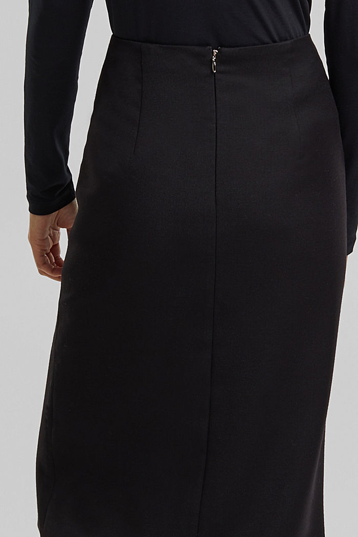 Wool blend: pencil skirt with buttons, BLACK, detail image number 5