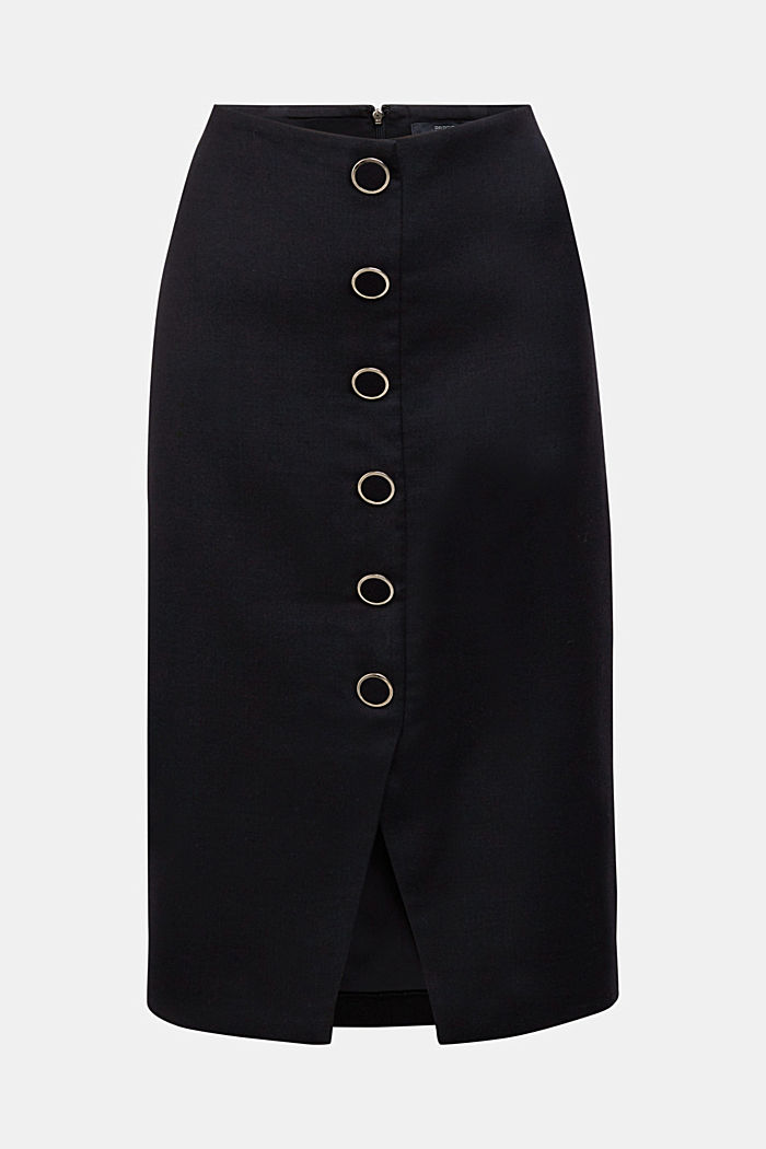 Wool blend: pencil skirt with buttons