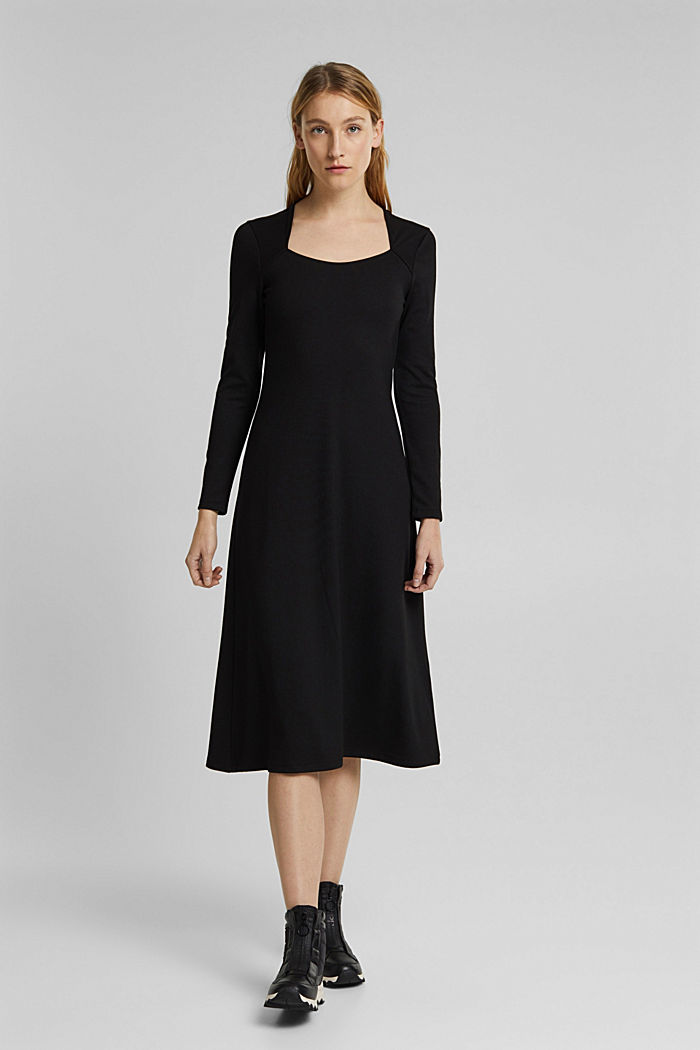With LENZING™ ECOVERO™: Jersey midi dress, BLACK, detail image number 0