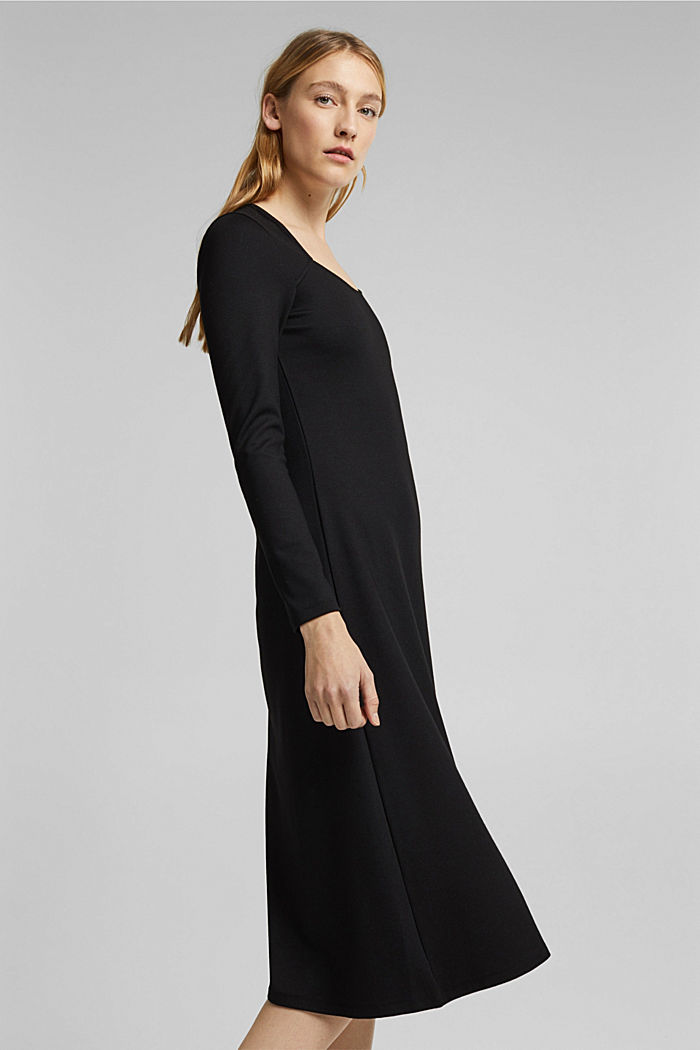 With LENZING™ ECOVERO™: Jersey midi dress, BLACK, detail image number 4