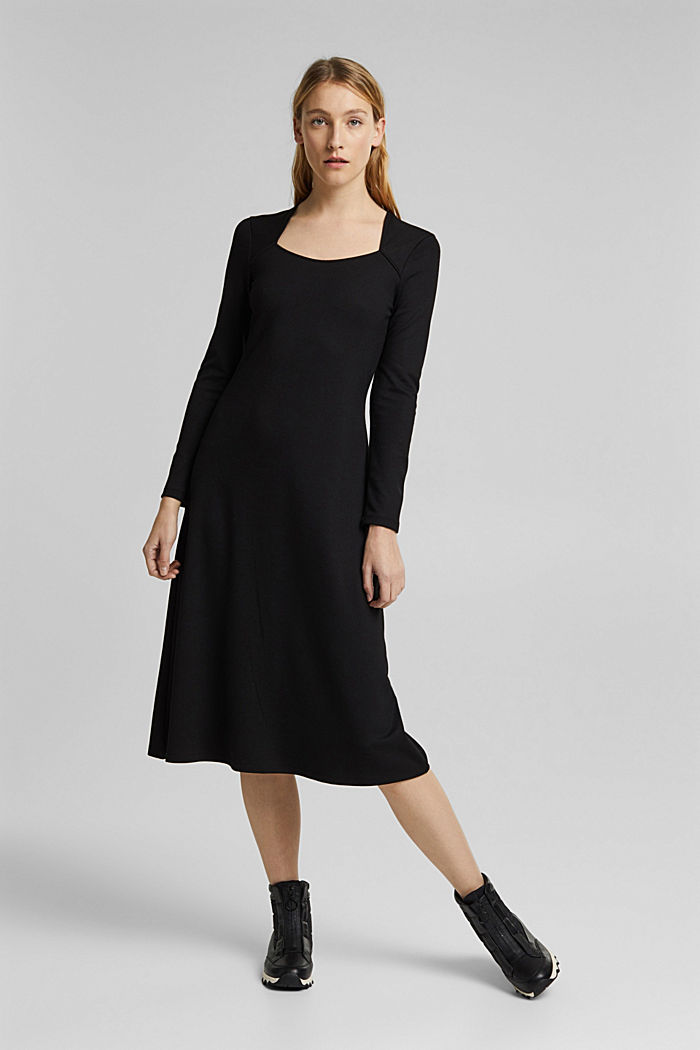 With LENZING™ ECOVERO™: Jersey midi dress, BLACK, detail image number 1