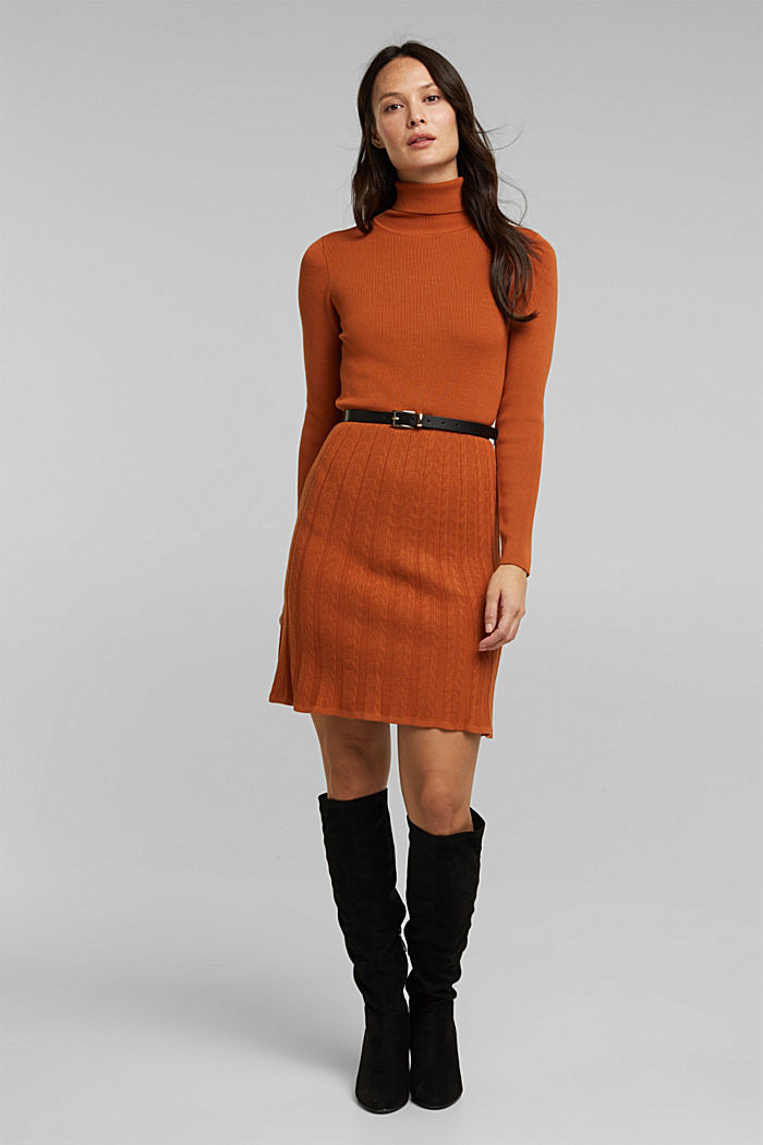 Knit dress with LENZING™ ECOVERO™, RUST BROWN, detail image number 6