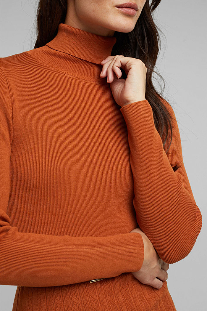 Knit dress with LENZING™ ECOVERO™, RUST BROWN, detail image number 3