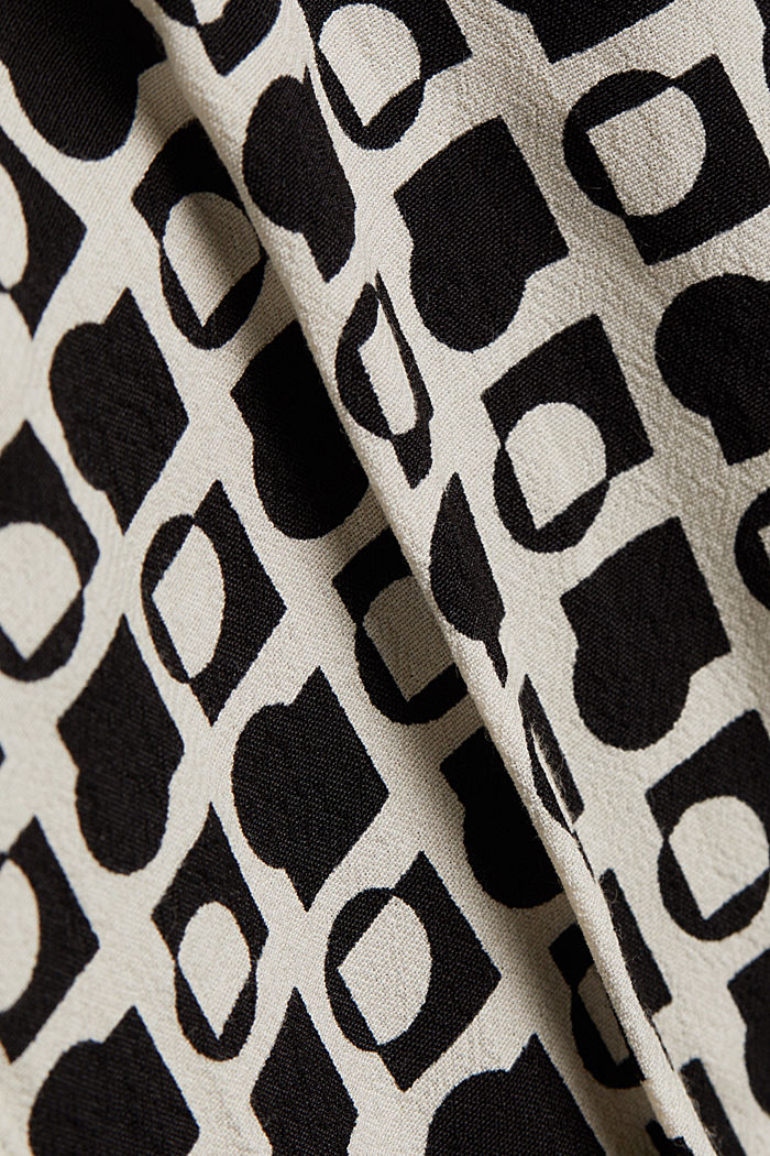 Crêpe dress with an op art print, OFF WHITE, detail image number 4