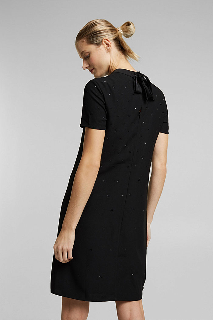 Sheath dress with rhinestones, BLACK, detail image number 2