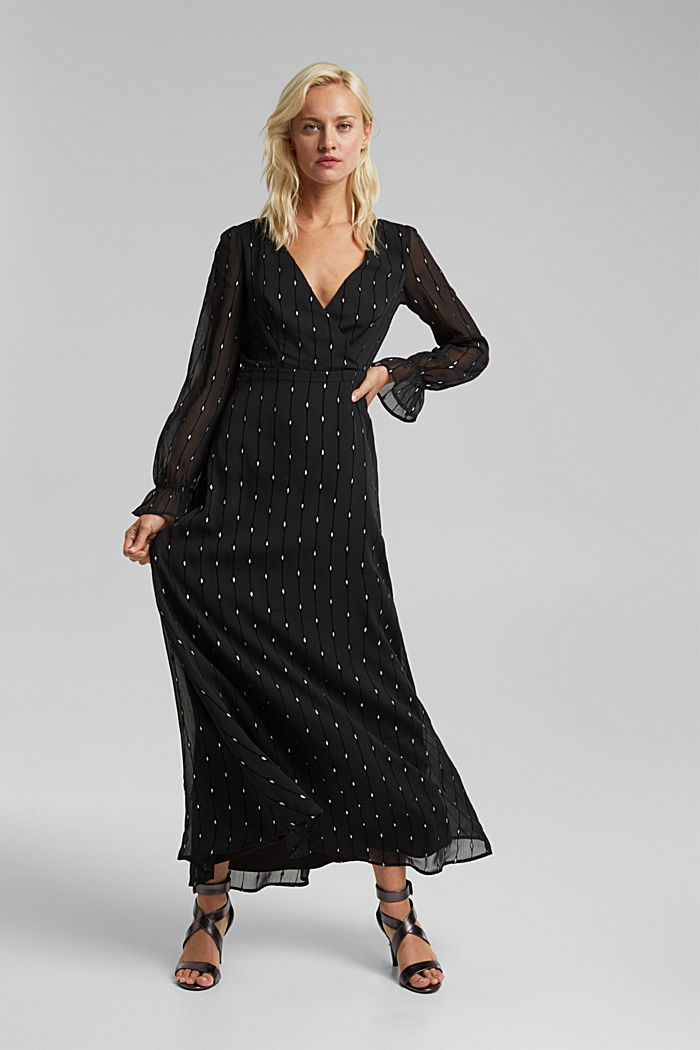 Embroidered chiffon maxi dress, BLACK, detail image number 0