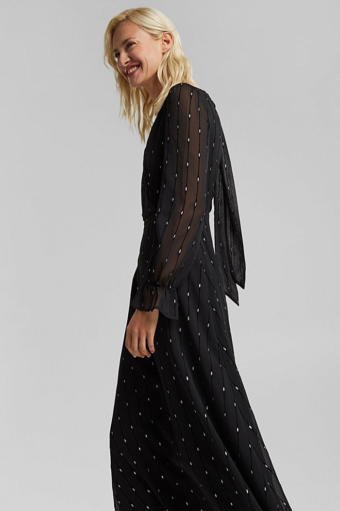 Embroidered chiffon maxi dress, BLACK, detail image number 5