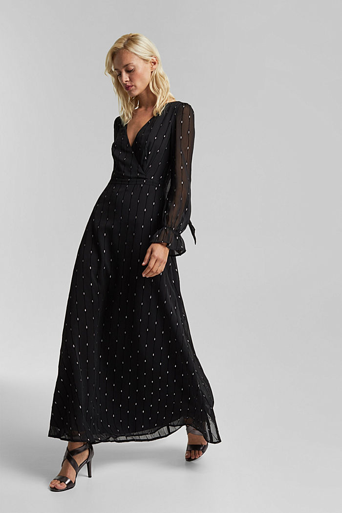 Embroidered chiffon maxi dress, BLACK, detail image number 1