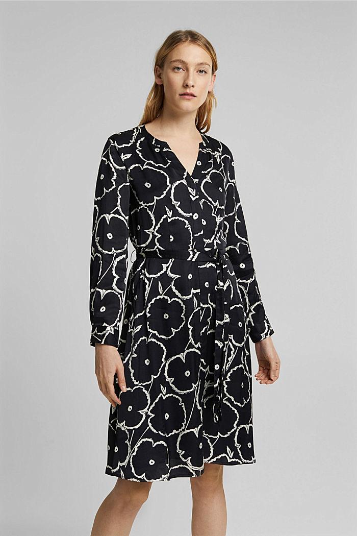 Shirt dress made of LENZING™ ECOVERO™, BLACK, detail image number 0