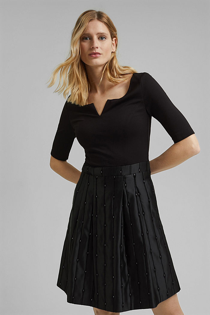 Jersey dress with an embroidered taffeta skirt, BLACK, detail image number 0