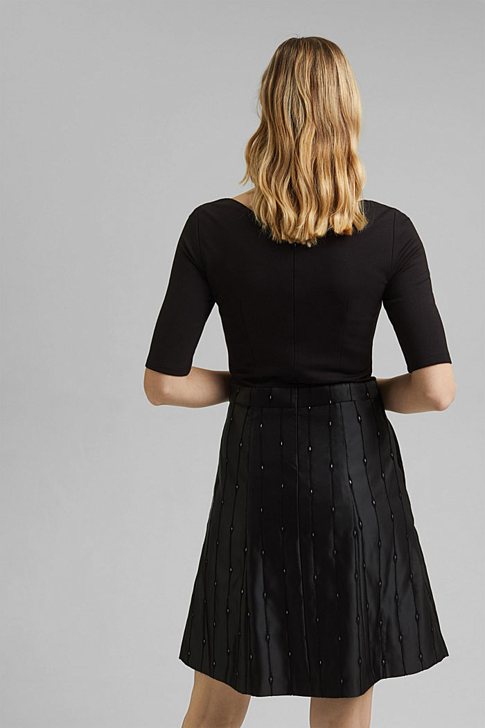 Jersey dress with an embroidered taffeta skirt, BLACK, detail image number 3