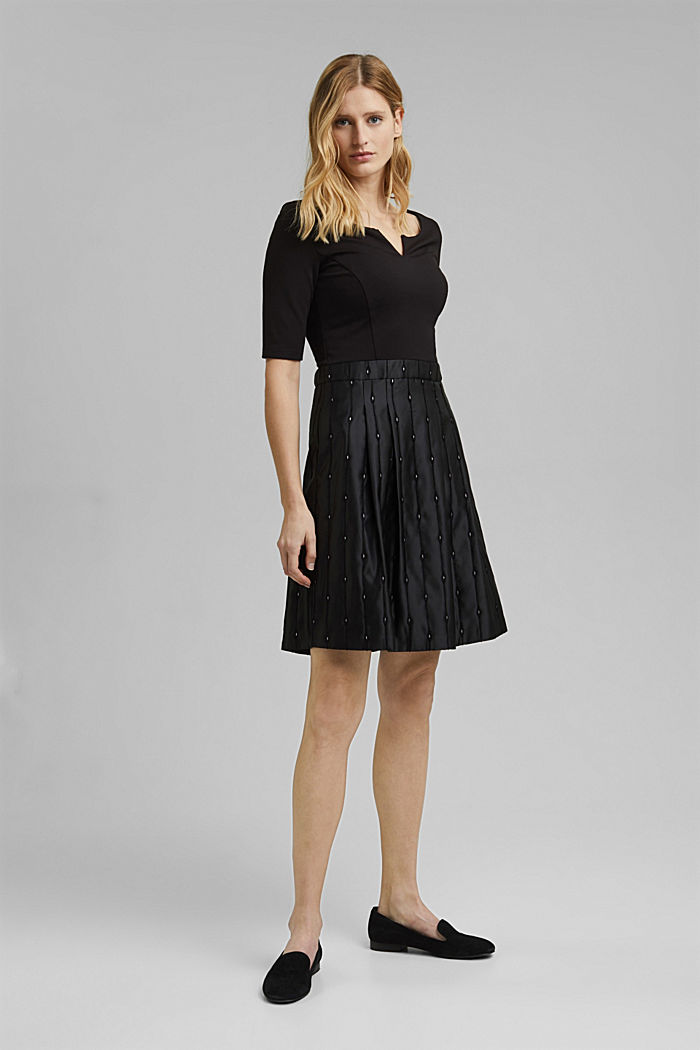 Jersey dress with an embroidered taffeta skirt, BLACK, detail image number 1