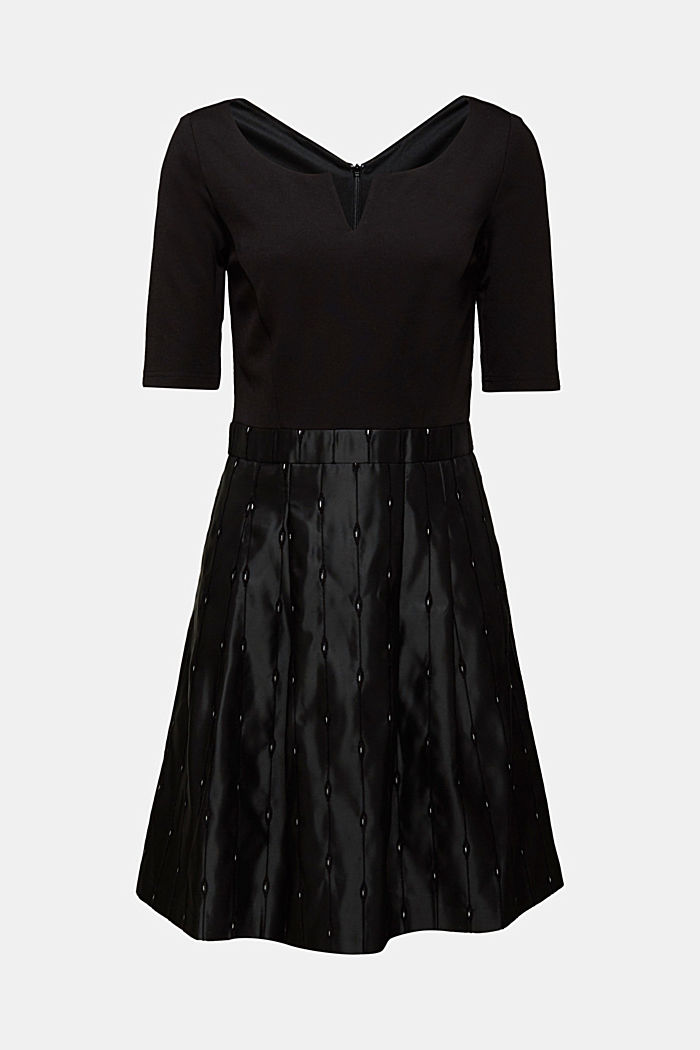 Jersey dress with an embroidered taffeta skirt, BLACK, detail image number 7