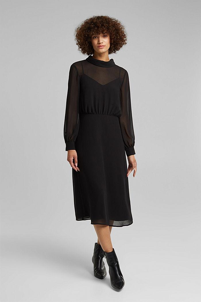 Recycled: Midi dress in crêpe chiffon, BLACK, detail image number 0