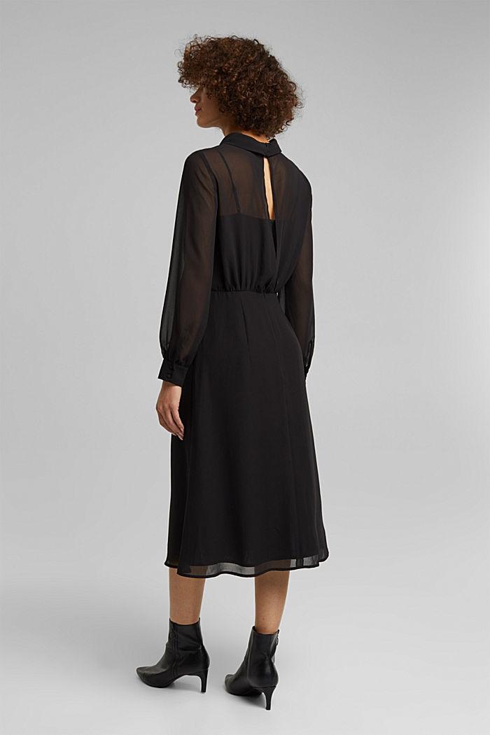 Recycled: Midi dress in crêpe chiffon, BLACK, detail image number 2