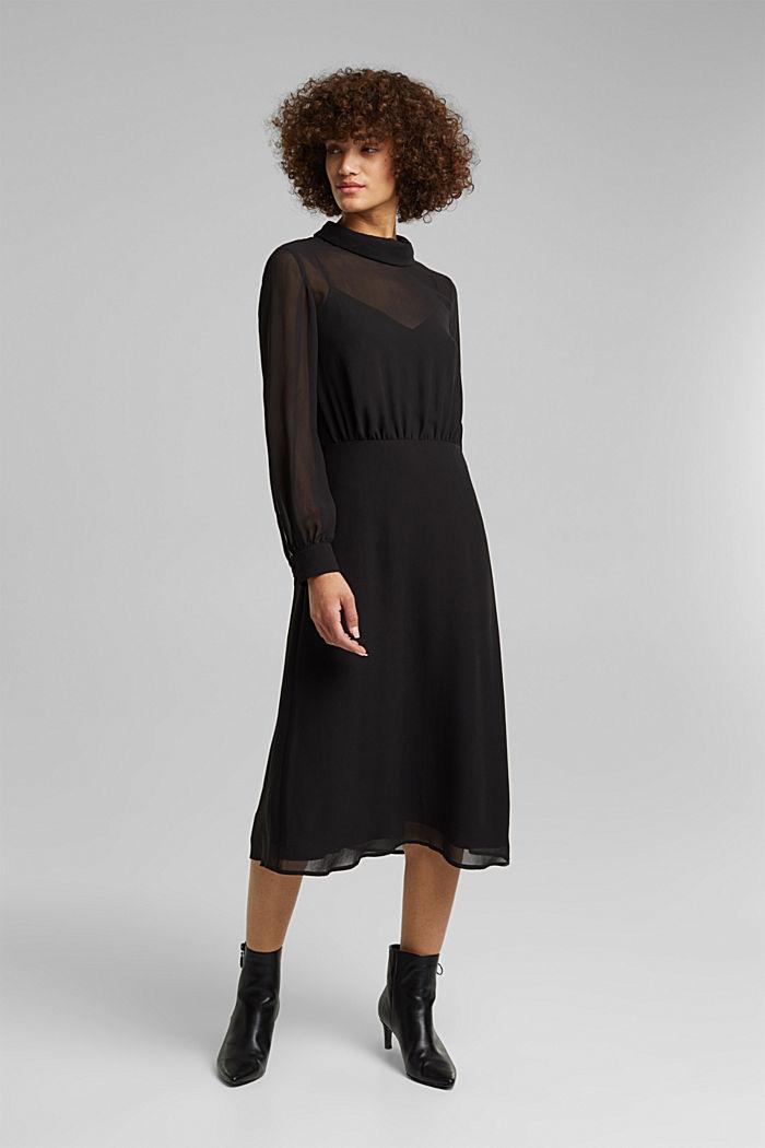 Recycled: Midi dress in crêpe chiffon, BLACK, detail image number 1