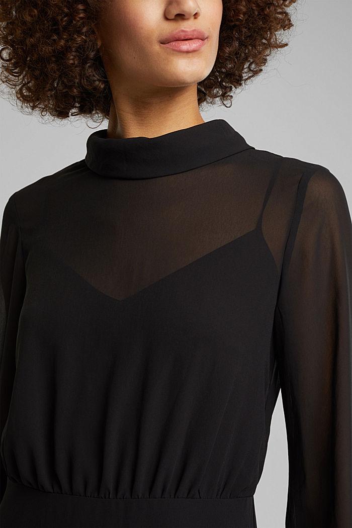 Recycled: Midi dress in crêpe chiffon, BLACK, detail image number 3