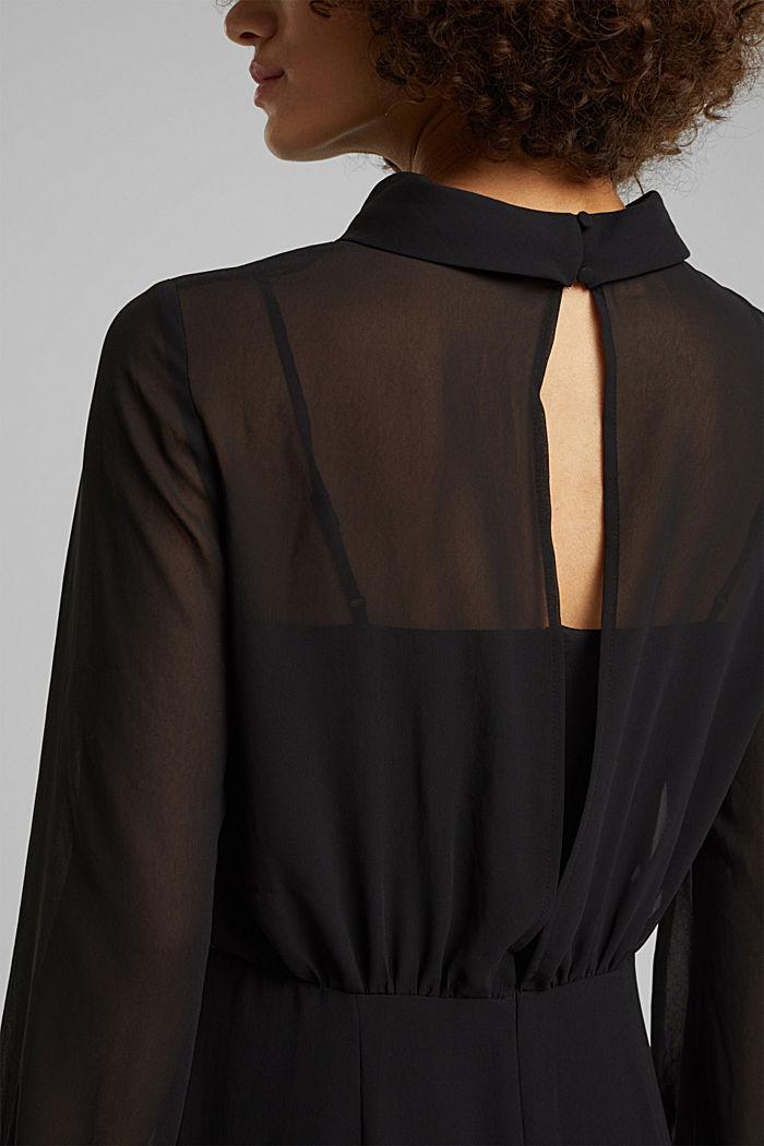 Recycled: Midi dress in crêpe chiffon, BLACK, detail image number 5