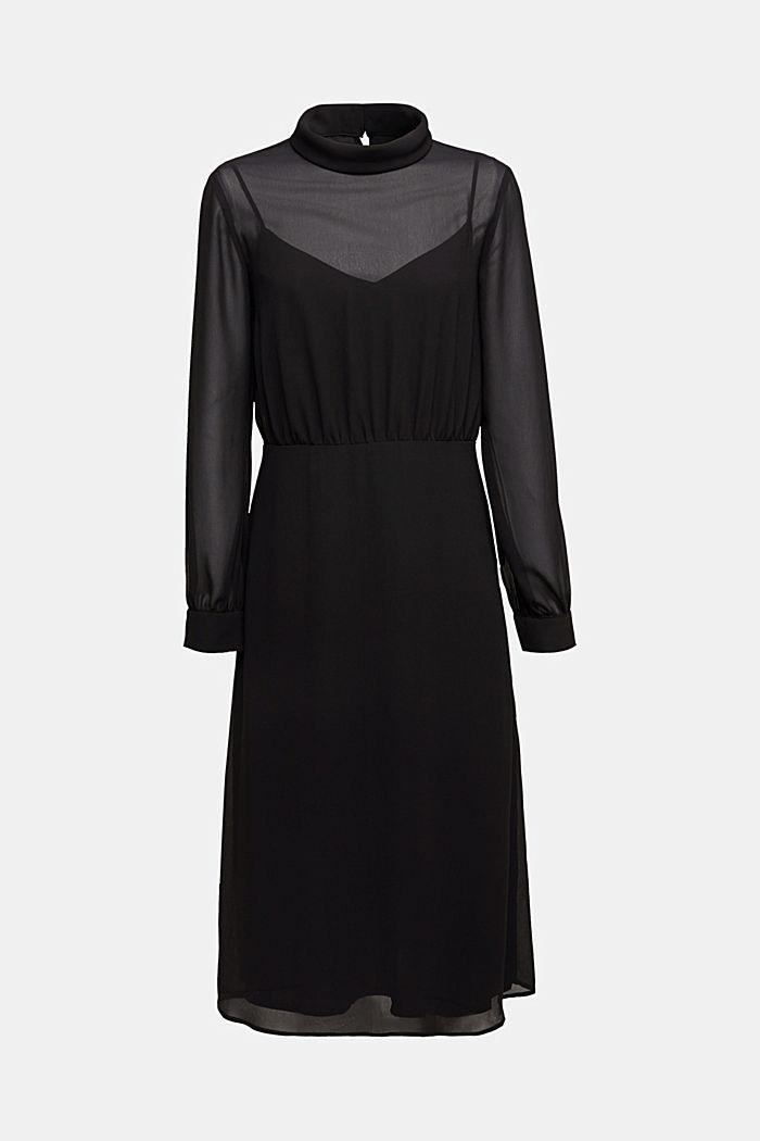 Recycled: Midi dress in crêpe chiffon, BLACK, detail image number 6