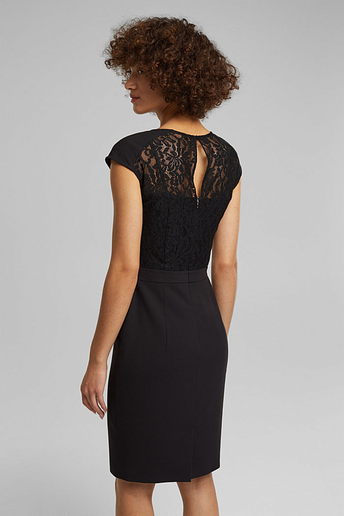 Recycled: dress with lace top, BLACK, detail image number 2