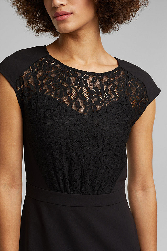Recycled: dress with lace top, BLACK, detail image number 3