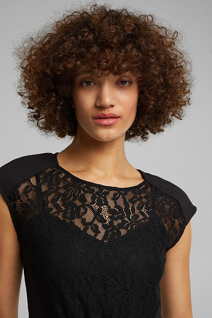 Recycled: dress with lace top, BLACK, detail image number 6