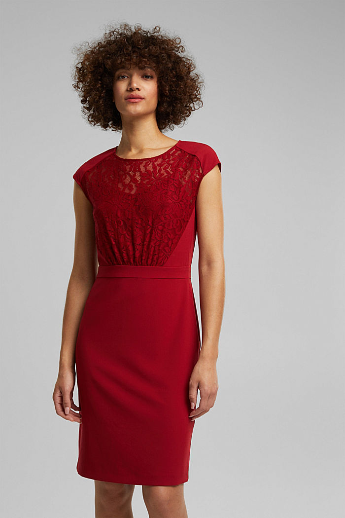 Recycled: dress with lace top, DARK RED, detail image number 0