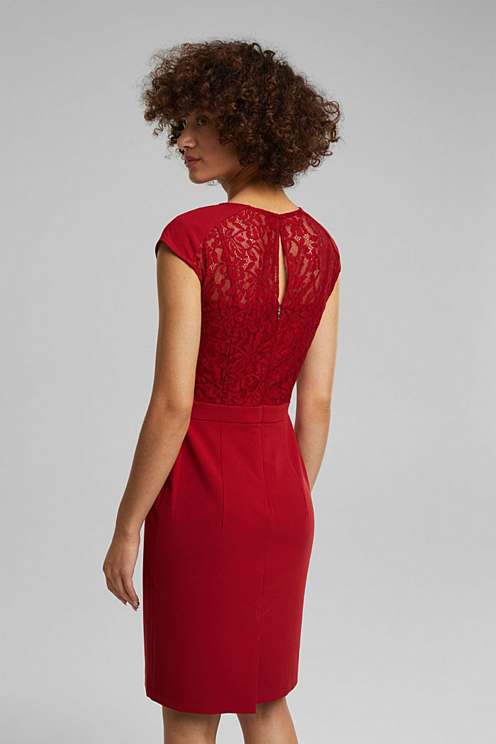 Recycled: dress with lace top, DARK RED, detail image number 2