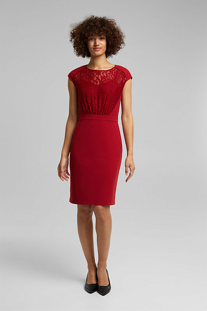 Recycled: dress with lace top, DARK RED, detail image number 1