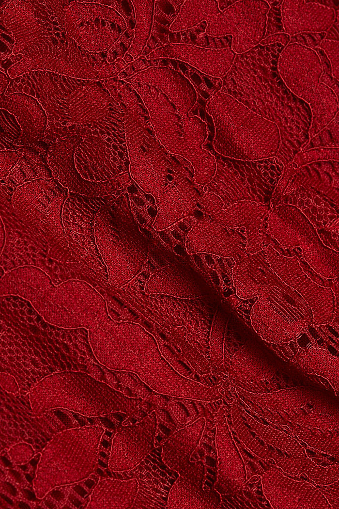 Recycled: dress with lace top, DARK RED, detail image number 4