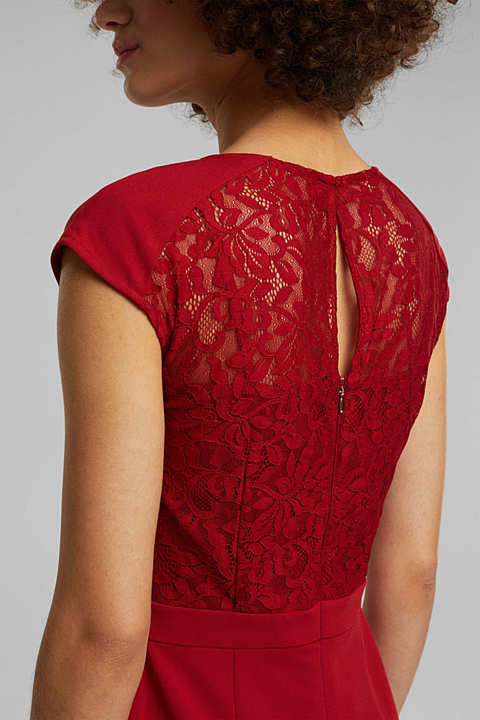 Recycled: dress with lace top, DARK RED, detail image number 5
