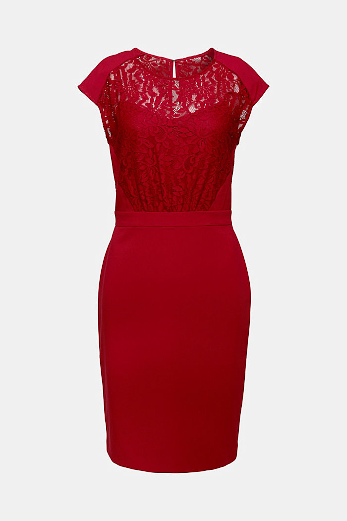 Recycled: dress with lace top, DARK RED, detail image number 6