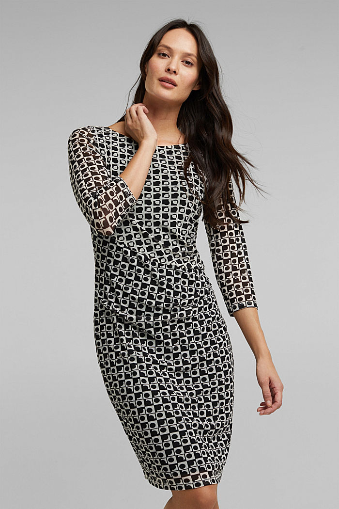 Mesh dress with an op art print, BLACK, detail image number 0