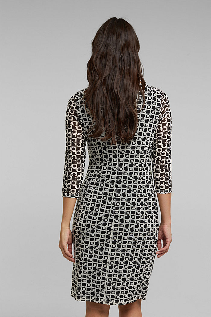 Mesh dress with an op art print, BLACK, detail image number 2