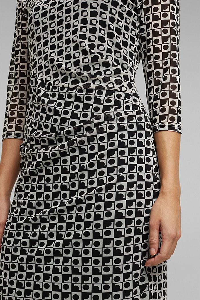 Mesh dress with an op art print, BLACK, detail image number 3