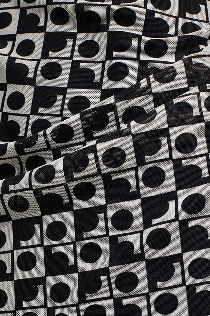 Mesh dress with an op art print, BLACK, detail image number 4