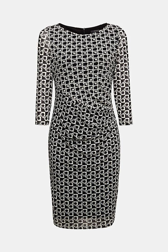 Mesh dress with an op art print, BLACK, detail image number 5